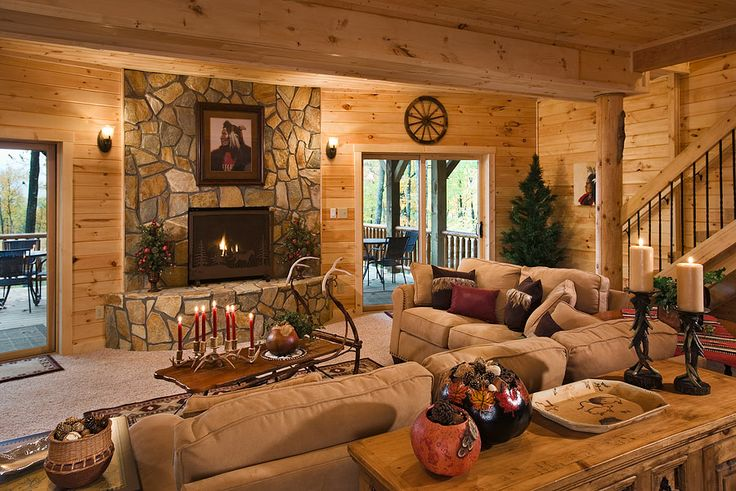 Rustichome 01 02 03 Interior Horizontal Lower Level Family Room Toward Fireplace And Deck Koser Residence